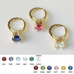 14K Yellow Gold Small Ring Pendant Charm w Birthstone Colored CZ Stone