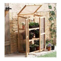 Small Greenhouse Grow Shed Portable Mini Garden Indoor Outdoor Solid Wood Glass
