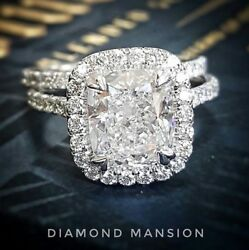 2.00ctw natural Cushion Cut Halo Pave Engagement Bridal Set Ring - GIA certified