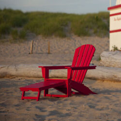 POLYWOOD South Beach Ultimate Adirondack Chair w Hideaway Ottoman