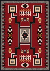 Old Crow Southwestern Decor Red Rustic Lodge Nylon Country Cabin Rug 5'4