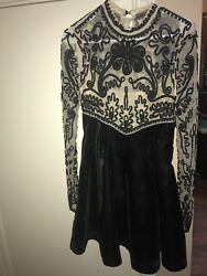 Free people black cocktail beaded dress with velvet bottom with buttons on back