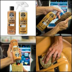 NEW Leather Cleaner and Conditioner Complete furniture Care Kit car home 16 oz