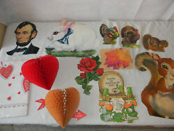 VINTAGE DECORATION LOT EASTER VALENTINES ST.PADDYS DAY CARDBOARD TABLE CLOTH $30.00
