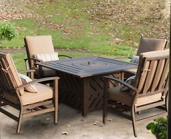 5 Piece Outdoor Propane Firepit Set - 4 Motion Club Chairs & 48