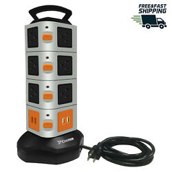 Power Strip Tower 14 Outlet Plugs 4 USB Surge Protector Charging Station  $29.99