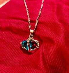 Blue Crystal Stone In Silver Metal Heart Peice Necklace $5.99