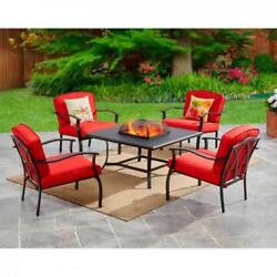5 Piece Fire Pit Set Table And Chairs Red Cushions Outdoor Yard Patio Furniture