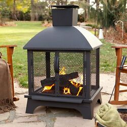 Outdoor Wood Burning Fireplace Modern Fire Pit Chimney Chimnea Screened Portable
