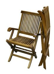 ALA TEAK 2 Piece Wood Indoor Outdoor Patio Garden Yard Folding Seat Chair Set