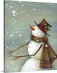 Solid-Faced Canvas Print Wall Art entitled Christmas Magic Snowman