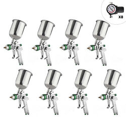 8 PCS 2.5mm HVLP Gravity Spray Gun Kit with Auto Paint Primer Metal Flake
