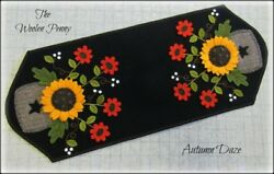 ~ Autumn Daze ~  Wool Applique Pattern Penny Rug Candle Mat Fall Sunflower