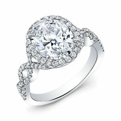 1.90ctw Natural Oval Cut Halo Twisted Pave Diamond Engagement ring - GIA
