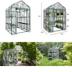 Plant Large Walk In Greenhouse With Clear Cover - 12 Shelves Stands 3 Tiers Rack