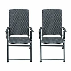 Folding Rattan Chairs Outdoor Indoor Foldable Camping Garden Furniture 2 Set