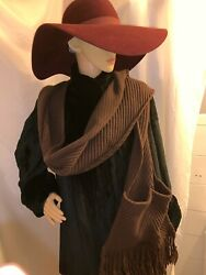 pre-loved authentic LOUIS VUITTON brown cashmerewool blend SCARF wglove pocket