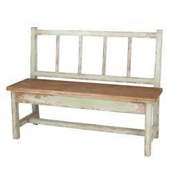 Naturalist Shabby Chic Outdoor Distressed Wood Garden Bench50''L.