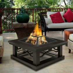 Crestone 34 in. Steel Framed Wood-Burning Fire Pit with Brown Tile Outdoor New