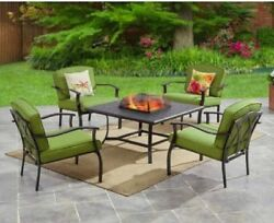 Outdoor Fire Pit Chat Set Table 4 Chair Deck Patio Garden Porch Pool Green Meta