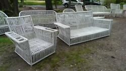 Antique Heywood Wakefield Art Deco stick wicker rattan porch furniture set