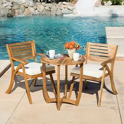 Outdoor 3-piece Bistro Set w Cushion Coffee Table Cocktail Garden Accent Patio