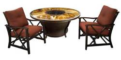 Round Gas Firepit Table Set in Antique Bronze [ID 3684276]