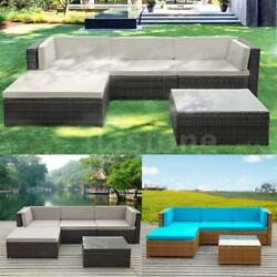 5PCS PE Garden Rattan Wicker Set Outdoor Cushions Couch Sofa Furniture S8S1