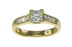 REDUCED 18k Yellow Gold 1.00ct HVS Princess Cut Diamond Engagement Ring #824613