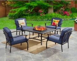 Outdoor Fire Pit Chat Set Table 4 Chairs Deck Patio Garden Porch Pool Blu Metal