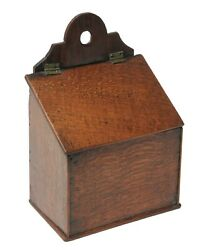 Georgian Antique English Provincial Oak Wood Salt Box with Hinged Lid