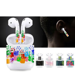 For Apple AirPods Stickers Protective Decal Skin Decal Faceplate Film x2- 5Style