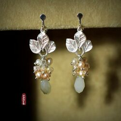 Earrings Clips Cultured Pearl Pink Baroque Original Evening Gift