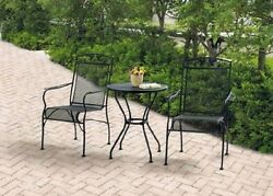 Wrought Iron Bistro Set 2 Mesh Chairs Table Black Pool Deck Patio Garden Porch