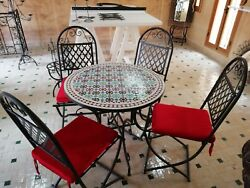 Garden Set Mosaic table Moroccan  +4 Chairs Wrought Iron Outdoor Quality