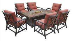 8-Pc Gas Firepit Table Deep Seating Chat Set [ID 3684363]