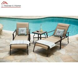 Durable Padded Sling Outdoor Chaise Lounge Adjustable Back Patio Garden Lounge 1