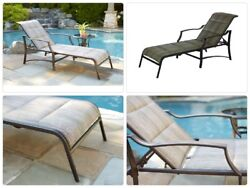 Statesville Padded Patio Chaise Lounge Pool Side Deck Chair Adjustable Reclining