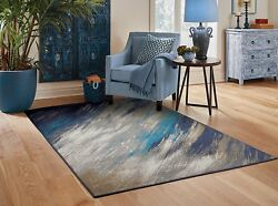 Contemporary Area Rugs 8x10 Blue Gray Living Room Rugs 5x7 Door Mats 2x3 Carpet $44.95