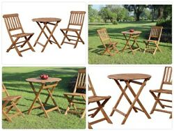 Cafe Set Brown Patio Bistro Teak Dining Table And Chair Outdoor Garden Backyard