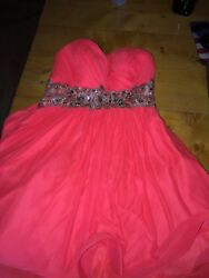 orange prom semi formal dress