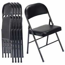 Set of 4 Black Folding Chairs Steel PU Portable Home Garden Office Furniture