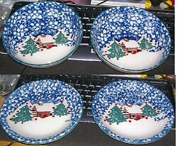 Christmas Folk Craft TIenshan Cabin in the Snow 2 salad plates & 2 cereal bowls