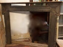 Antique Large Oak? Wood Fireplace Mantle Surround from 1800's Farmhouse Rustic