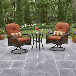 Outdoor Patio Furniture 3 Piece Bistro Set 2 Chairs Table Metal Wicker Garden Pc