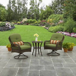 3 Piece Bistro Set Outdoor Patio Furniture 2 Chairs Table Metal Wicker Garden Pc