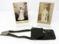 NURSE'S LEATHER CHATELAINE WITH 8 TOOLS together with TWO CABINET CARDS