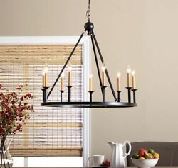 Farm House Chandelier Candle Style Rustic Old World Metal Country Cabin Chalet