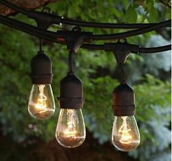 Patio Bistro Lights RV String Exterior 48 Feet 24 Sockets Bulbs Deck Party Camp
