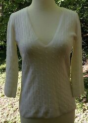 J CREW Sweater 100% Cashmere 82042 White VNeck Cable Knit Pullover Womens Sz XS